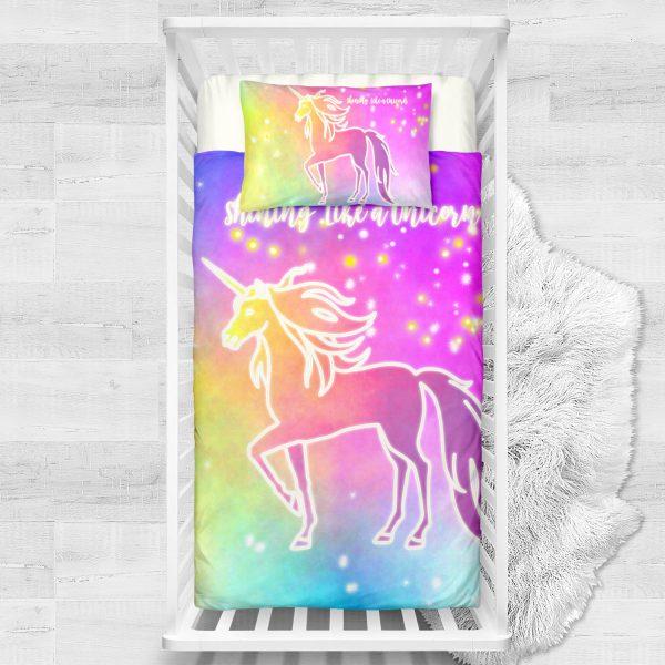 Bling Bling Unicorn Stars Crib Bedding Set