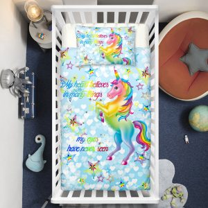 Blue Sky Unicorn Princess Crib Bedding Set
