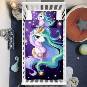 Blue Unicorn Princess Crib Bedding Set