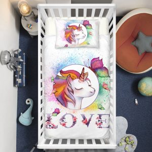 Colorful Love Unicorn Crib Bedding Set