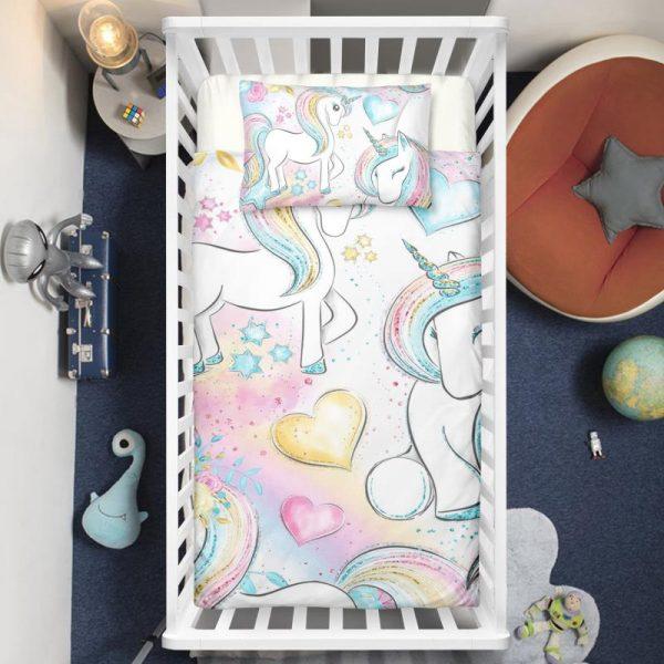Colorful Rainbow Playing Unicorns Crib Bedding Set