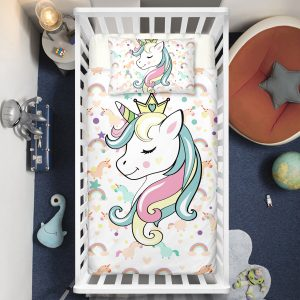Colorful Rainbow Playing Unicorns Crib Bedding Set