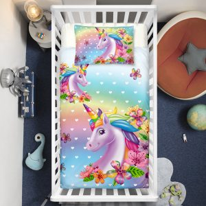 Colorful Rainbow Unicorn Crib Bedding Set