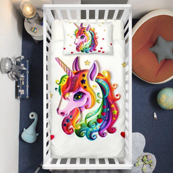 Colorful Stars Unicorn Crib Bedding Set