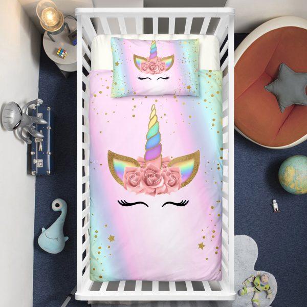 Dreaming Colorful Eyelashes Unicorn Crib Bedding Set