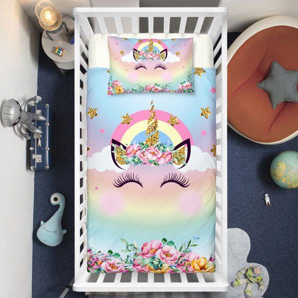 Dreaming Unicorn Eyelashes Crib Bedding Set