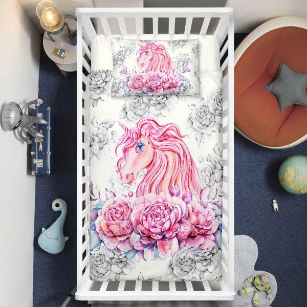 Floral Unicorn Crib Bedding Set