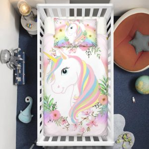 Floral Wreath Unicorn Crib Bedding Set