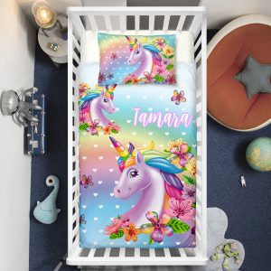 Personalized 3D Flowers Unicorn Crib Bedding Set