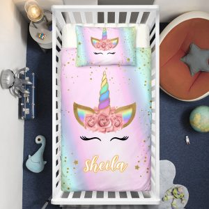 Personalized Adorable Unicorn Lash Crib Bedding Set