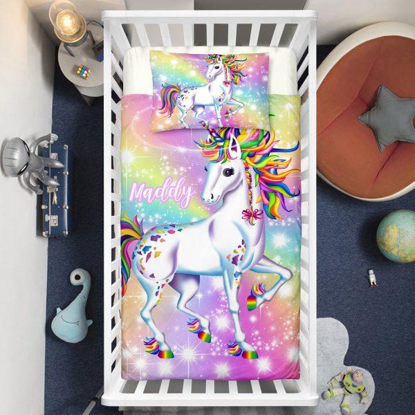 Personalized Bling Bling Unicorn Lash Crib Bedding Set