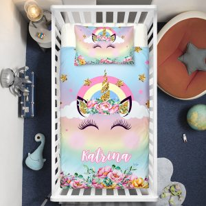 Personalized Bling Bling Unicorn Lash Crib Bedding Set