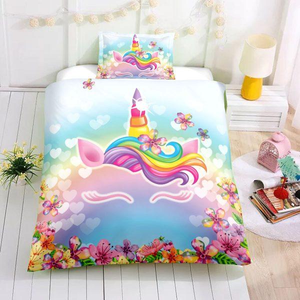 Personalized Custom Flower Unicorn Lash Bedding Set – Unicorn Gift For Girls – Unicorn Bedroom Set