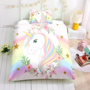 Personalized Custom Flower and Unicorn Bedding Set – Unicorn Gift For Girls – Unicorn Bedroom Set