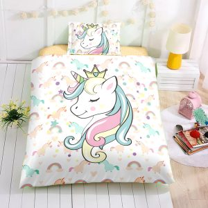 Personalized Custom Slepping Unicorn Bedding Set – Unicorn Gift For Girls – Unicorn Bedroom Set