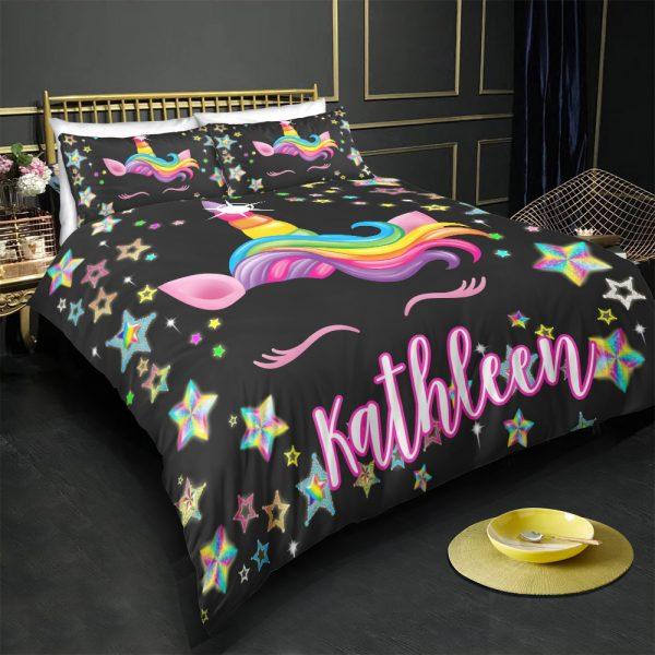 Personalized Custom Star Unicorn Black Bedding Set – Unicorn Gift For Girls – Unicorn Bedroom Set