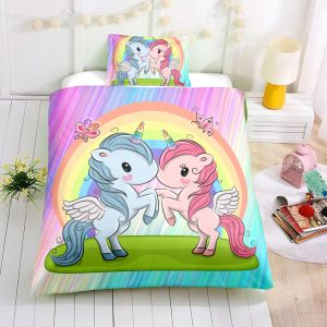 Personalized Custom Two Baby Unicorns Bedding Set – Unicorn Gift For Girls – Unicorn Bedroom Set