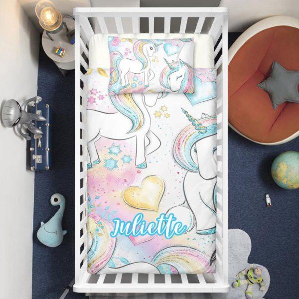 Personalized Cute Unicorn Baby Crib Bedding Set