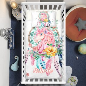 Personalized Dreamcatcher Unicorn Lash Crib Bedding Set