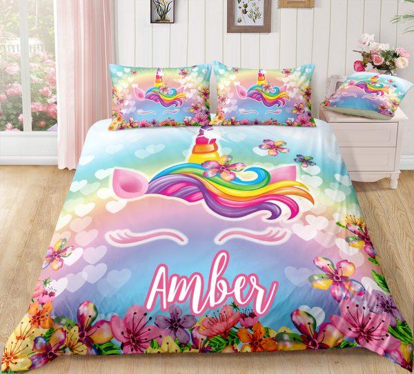 Personalized Flower Unicorn Lash Bedding Set