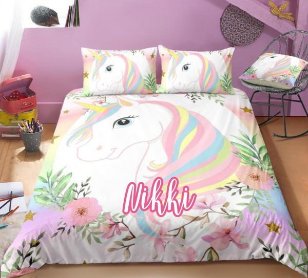 Personalized Flower and Unicorn Bedding Set