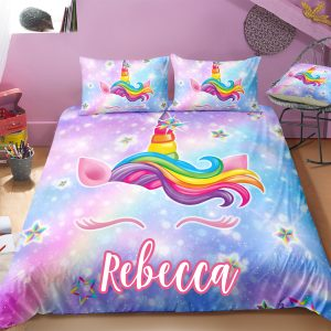 Personalized Galaxy Unicorn Lash Bedding Set