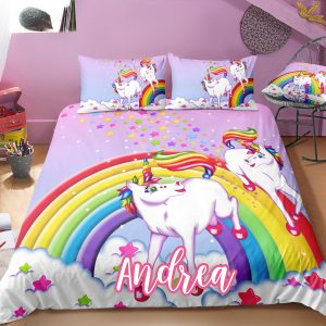 Personalized Playing Unicorn Lash Bedding Set