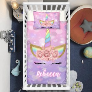 Personalized Purple Unicorn Lash Crib Bedding Set