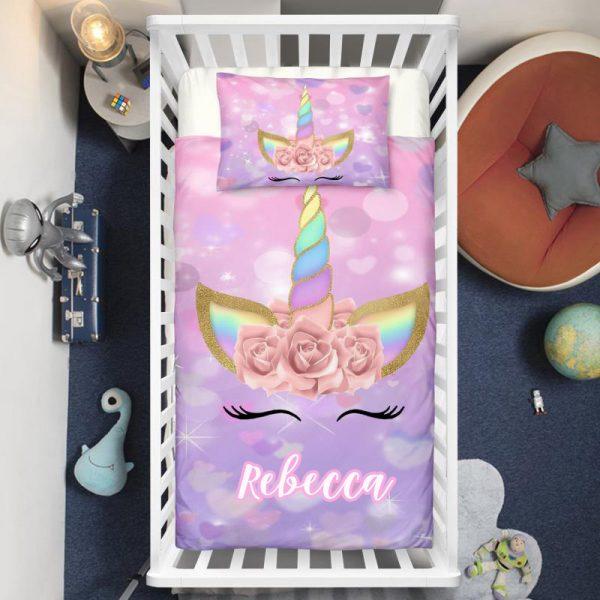 Personalized Purple Unicorn Lash Crib Bedding Set