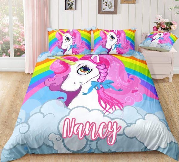 Personalized Rainbow Unicorn Queen Bedding Set