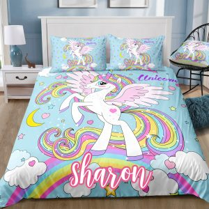 Personalized Rainbow Wings Unicorn Bedding Set