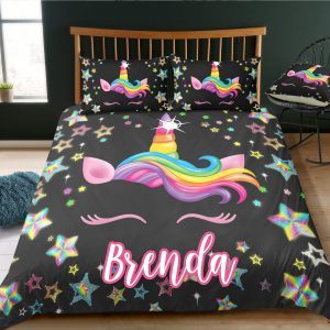 Personalized Star Unicorn Black Bedding Set
