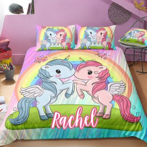 Personalized Two Baby Unicorns Bedding Set