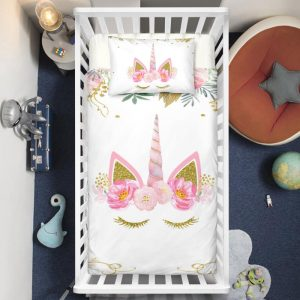 Pinky Sleeping Unicorn Crib Bedding Set