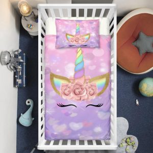 Purple Hearts Dreaming Unicorn Crib Bedding Set