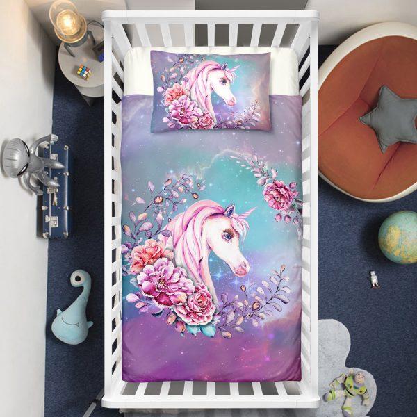 Roses Surrounding Unicorn Crib Bedding Set