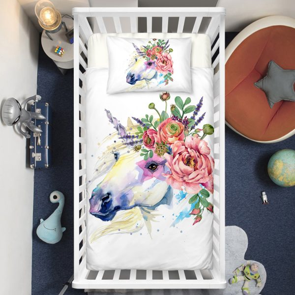 Wild Floral Unicorn Crib Bedding Set