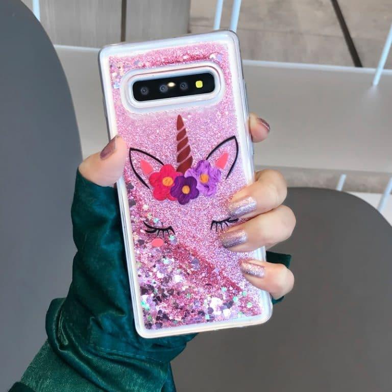 Unicorn Liquid Glitter Heart Cases For Samsung iPhone