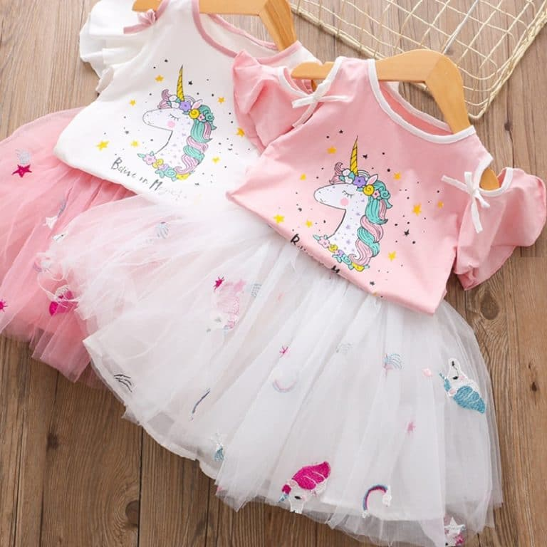 Girls Unicorn Dress Clothing Sets for Summer