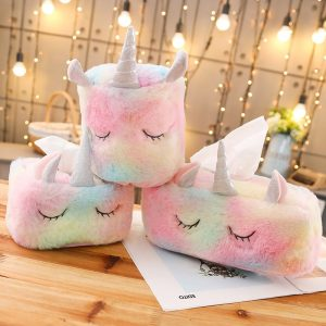 3 Styles Lovely Unicorn Plush Tissue Box