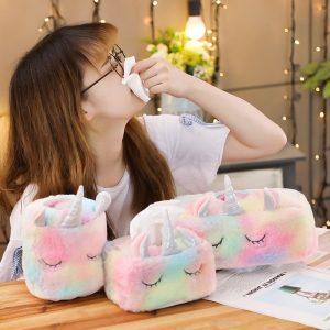 3 Styles Lovely Unicorn Plush Tissue Box