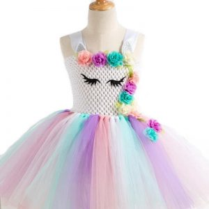 Flowers Unicorn Tutu Dress with Hair Band and Wings
