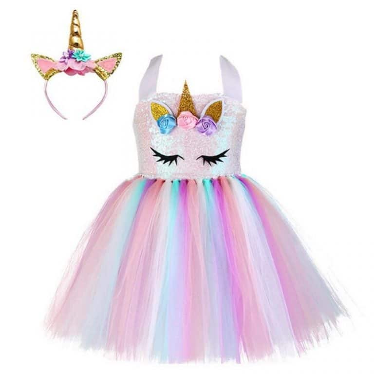 Unicorn Sequin Tutu Dress With Headband