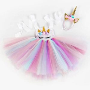 Unicorn Sequin Tutu Dress With Headband