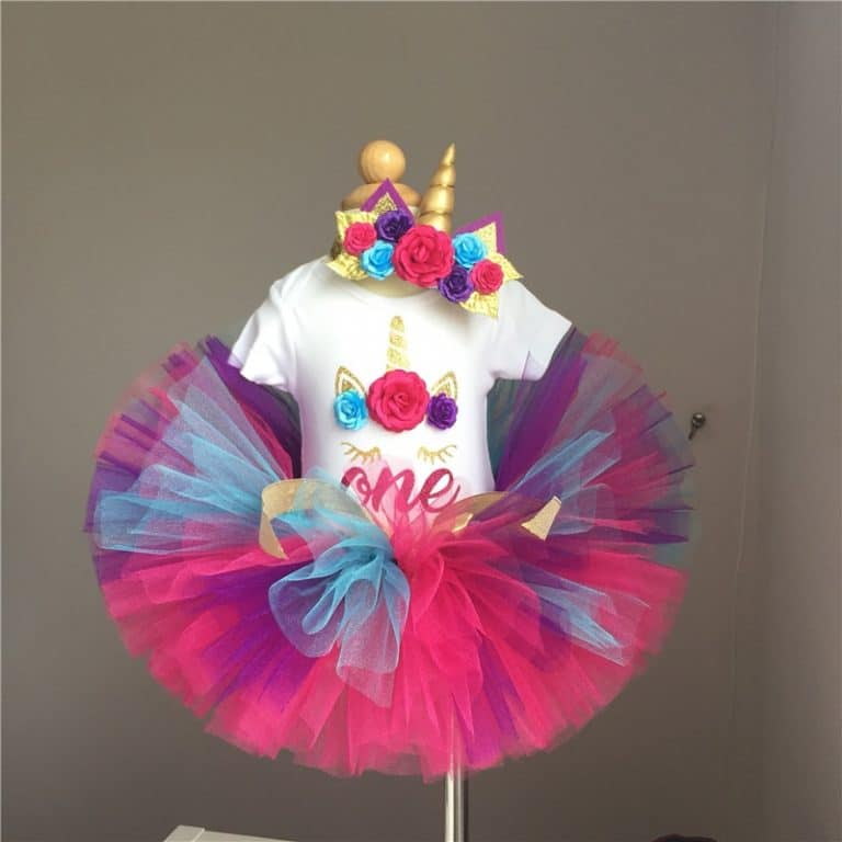 Unicorn One Year Romper Headband Tutu Dresses