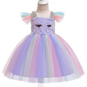 Unicorn Girl Sequined Dress With Headband