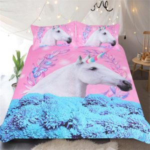Unicorn Pink and Blue Duvet Cover Bedding Set
