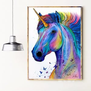 Unicorn Watercolor Canvas Art Poster Wall