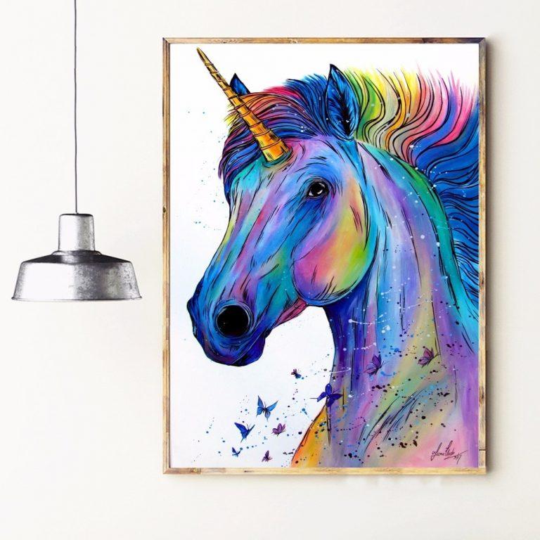 Unicorn Watercolor Canvas Art Poster Wall