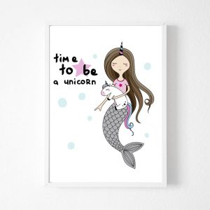 Mermaid Unicorn Canvas Wall Pictures